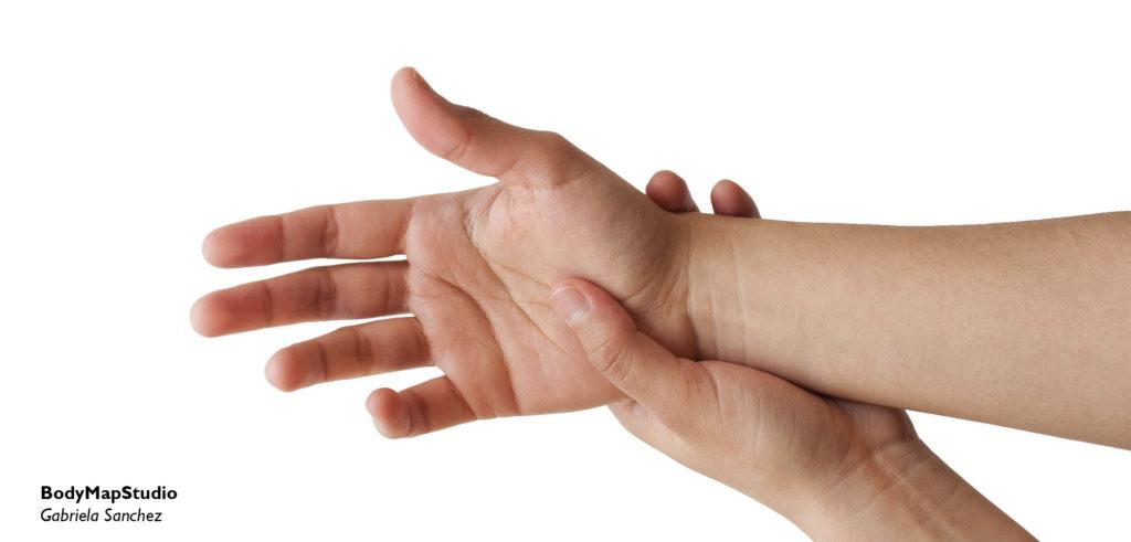 Una mano sosteniendo el otro brazo por la muñeca