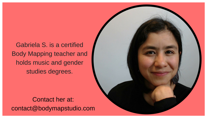 Gabriela's picture: Gabriela is a certified Body Mapping teacher and holds music and gender studies degrees.