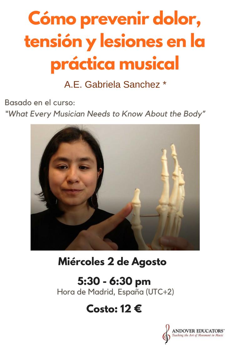 """Póster de la platica en línea de Body Mapping: """"Cómo prevenir dolor, tensión y lesiones en la práctica musical."""" Miercoles 2 de agosto, 5:30 pm (hora de Madrid España). Costo: 12 euros."""